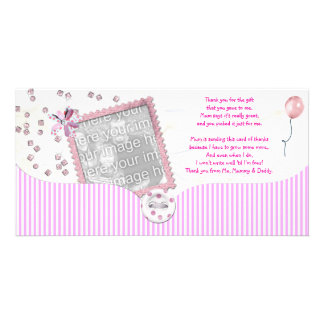Rosa Babydusche danken Ihnen Foto-Karte vom Baby Photo Karte