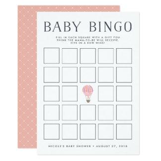 Rosa Babyparty-Bingo-Spiel-Karte des Karte