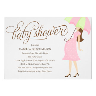 Rosa Babyparty des Regenschirm-| laden ein 12,7 X 17,8 Cm Einladungskarte