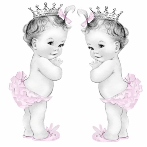 Rosa Babyparty Prinzessin-Twin Girl Photoausschnitte
