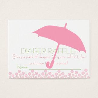 Rosa Babyparty-Regenschirm-Windelraffle-Karten Visitenkarte
