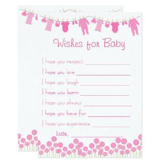 Rosa Babyparty-Wünsche für Baby-Spiel Karte