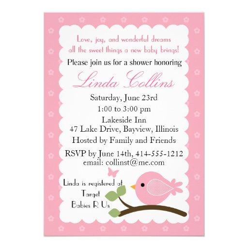 Rosa Babypartyeinladung mit Vogel u. Schmetterling Individuelle Ankündigung