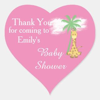 Rosa Babypartygiraffe danken Ihnen Aufkleber