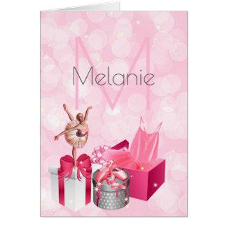 Rosa Ballerina mit Monogramm mit Namensfreiem raum Karte
