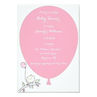 Rosa Ballon-Vogel-Babyparty-Einladungen 8,9 X 12,7 Cm Einladungskarte