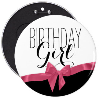 Rosa Band-Bogen-Geburtstags-Mädchen Runder Button 15,3 Cm