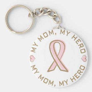 Rosa Band-Brustkrebs meine Mamma mein Held Standard Runder Schlüsselanhänger