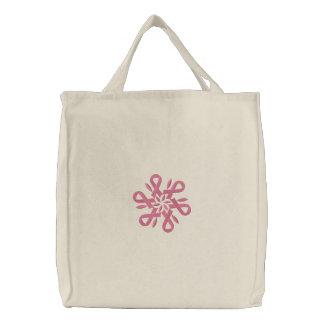 Rosa Band-Brustkrebs-Schneeflocke-Tasche Bestickte Tragetasche