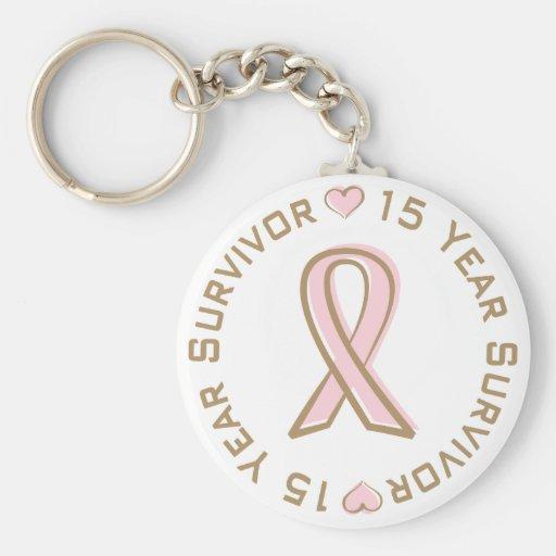 Rosa Band-Brustkrebs-Überlebender 15 Jahre Schlüsselband