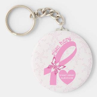 Rosa Band-Brustkrebsbewusstsein Standard Runder Schlüsselanhänger