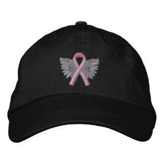 Rosa Band-Engel Wings Logo-Brustkrebs Bestickte Caps