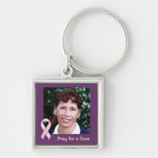 Rosa Band-Foto beten für Heilung Keychain Silberfarbener Quadratischer Schlüsselanhänger