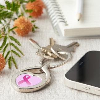 Rosa Band-Herz-Schlüsselkette Silberfarbener Herz Schlüsselanhänger