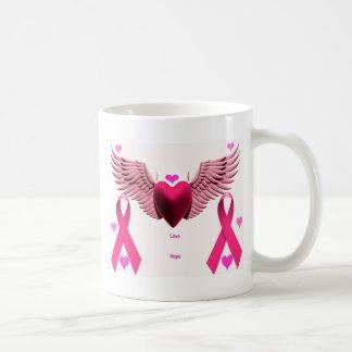 Rosa Band-Herzen Tasse