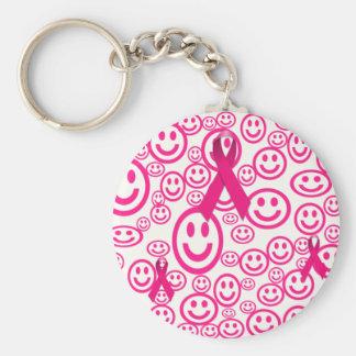 Rosa Band-Lächeln, das helfen Standard Runder Schlüsselanhänger