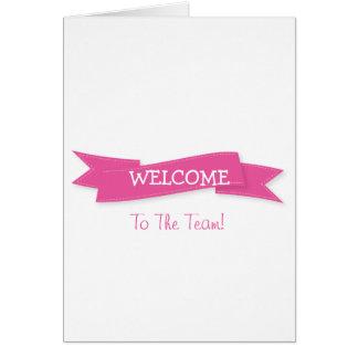 Rosa Band mit weiße Grenzniedlichem Willkommen Karte