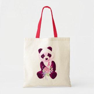 Rosa Band-Panda-Bär Budget Stoffbeutel