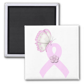 Rosa Band-Schmetterling Quadratischer Magnet
