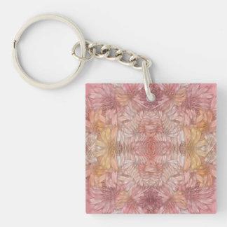 Rosa Bänder Einseitiger Quadratischer Acryl Schlüsselanhänger
