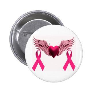 Rosa Bänder u. Herz der Liebe u. der Unterstützung Runder Button 5,7 Cm