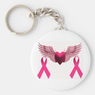 Rosa Bänder u. Herz der Liebe u. der Unterstützung Standard Runder Schlüsselanhänger