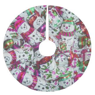 Rosa Baumrock der süßen Schneemänner Polyester Weihnachtsbaumdecke