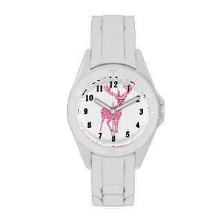 Rosa bebrillter modischer Hirsch-Rotwild-Entwurf Uhren