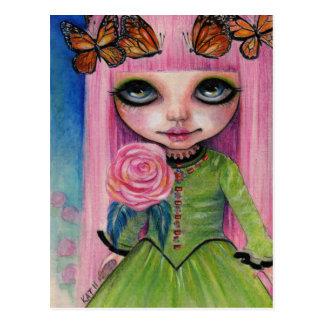 Rosa behaarte Rose Blythe Puppen-Fankunst Postkarte