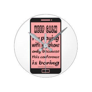 Rosa behalten ruhiges Telefon-runde Wand-Uhr Runde Wanduhr