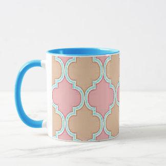 Rosa beige marokkanisches Gitter-Muster Tasse