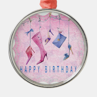 Rosa beschuht alles Gute zum Geburtstag Silbernes Ornament