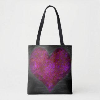 Rosa beunruhigtes abstraktes Herz Tasche