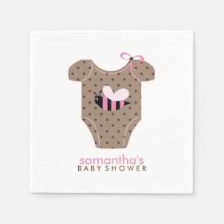 Rosa Bienen-Ausstattungs-Mädchen-Babyparty Papierserviette