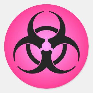 Rosa Biogefährdung-Symbol Runder Aufkleber