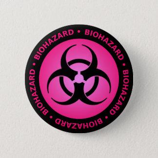 Rosa Biogefährdung-warnender Knopf Runder Button 5,1 Cm
