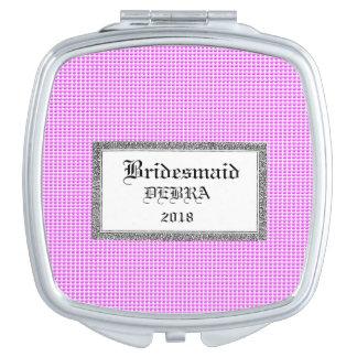 Rosa-Blase-Bevorzugung-Monogramm-Schablone-Feier Taschenspiegel