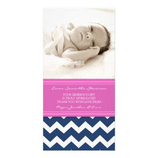 Rosa Blau dankt Ihnen Baby-Duschen-Foto-Karten Photokarte