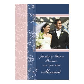 Rosa blaue Foto-gerade verheiratete 12,7 X 17,8 Cm Einladungskarte