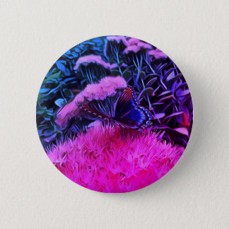Rosa blaue NeonBlumen mit Monarch-Schmetterling Runder Button 5,1 Cm