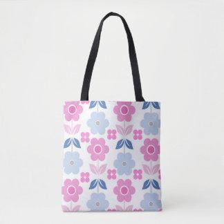 Rosa/blaue Retro Blumen ganz vorbei - drucken Sie Tasche