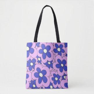Rosa blauer Blumen-Druck Tasche