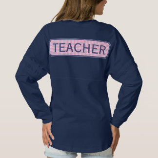 Rosa + Blauer Monogramm-Apple-Gingham-Lehrer