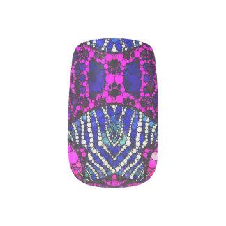 Rosa blauer Tierdruck Bling Minx Nagelkunst