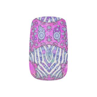 Rosa blauer Tierdruck Minx Nagelkunst