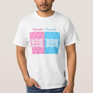 Rosa blaues Damast-Baby-Geschlecht decken des T-Shirt