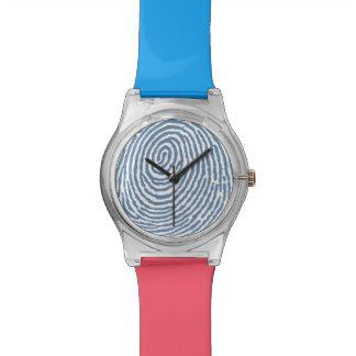 Rosa blaues Fingerabdruck-Muster - RetroFlat Uhren