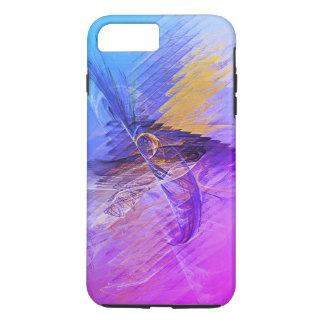 Rosa blaues gelbes abstraktes Fraktal iPhone 8 Plus/7 Plus Hülle