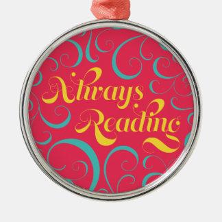 Rosa blaues gelbes Wirbels-immer lesen gelehrt Silbernes Ornament