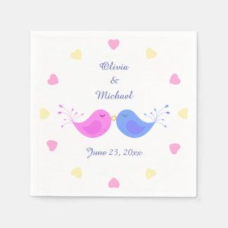 Rosa blaues Liebe-Vogel-Brautparty Servietten